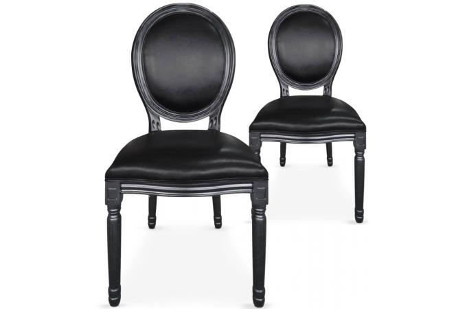 lot de 2 chaises m daillon simili noir baroque versailles chaise design pas cher. Black Bedroom Furniture Sets. Home Design Ideas