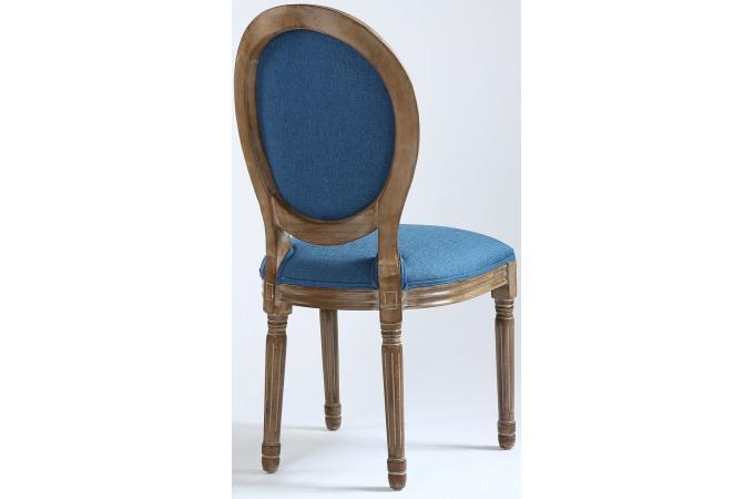 Lot de chaises médaillon tissu marron et bleu versailles