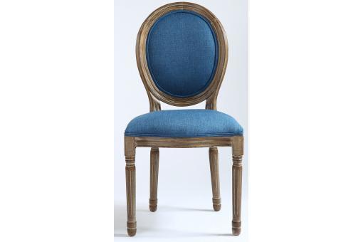 Lot de 2 Chaises Médaillon Tissu Marron et Bleu VERSAILLES - Chaise ...