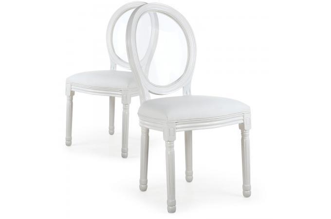 Lot De 2 Chaises Mdaillon Transparent Blanc LOUISA