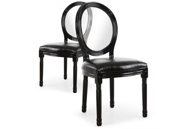 Lot De 2 Chaises Medaillon Transparent Noir LOUISA
