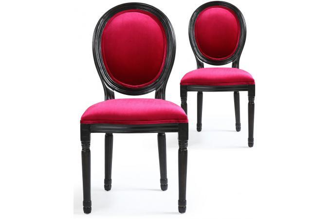 lot de 2 chaises m daillon velours fuchsia et noir versailles chaise design pas cher. Black Bedroom Furniture Sets. Home Design Ideas