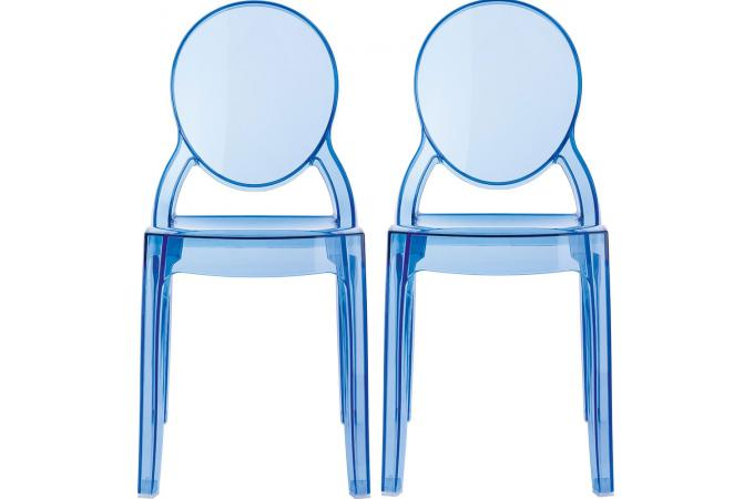 lot de 2 chaises baby elizabeth bleu transparent chaise et fauteuil enfant pas cher. Black Bedroom Furniture Sets. Home Design Ideas