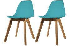 Lot de 2 chaises Scandinave Coque Bleue Canard FJORD