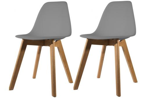 Lot de 2 chaises Scandinave Coque Grise FJORD