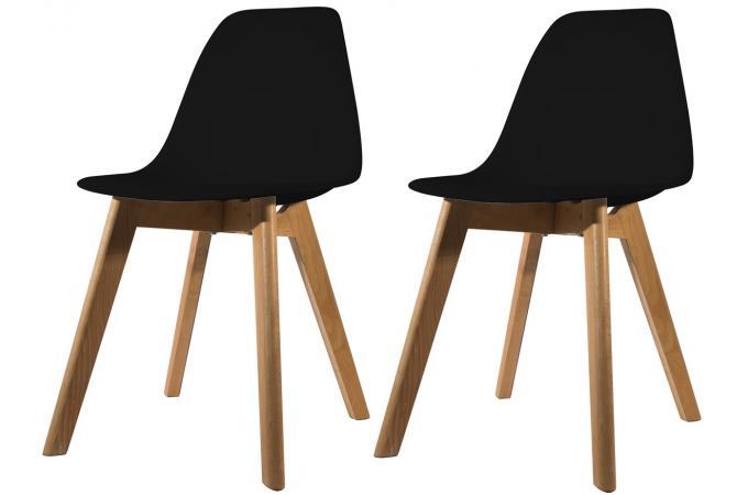 lot de 2 chaises scandinave coque noire fjord chaise design pas cher. Black Bedroom Furniture Sets. Home Design Ideas