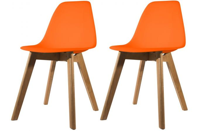 lot de 2 chaises scandinave coque orange fjord chaise design pas cher. Black Bedroom Furniture Sets. Home Design Ideas