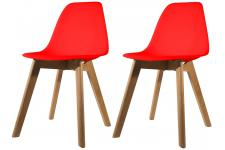 Lot de 2 chaises Scandinave Coque Rouge FJORD