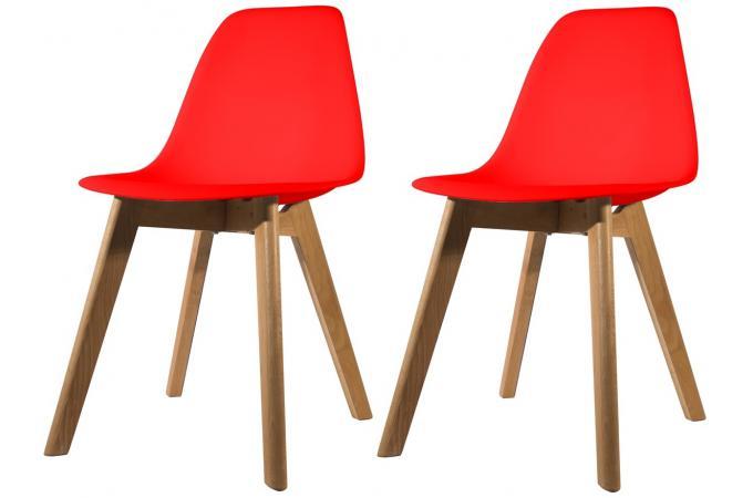 lot de 2 chaises scandinave coque rouge fjord chaise design pas cher. Black Bedroom Furniture Sets. Home Design Ideas