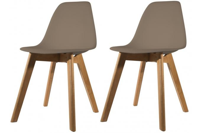 Lot de 2 chaises Scandinave Coque Taupe FJORD