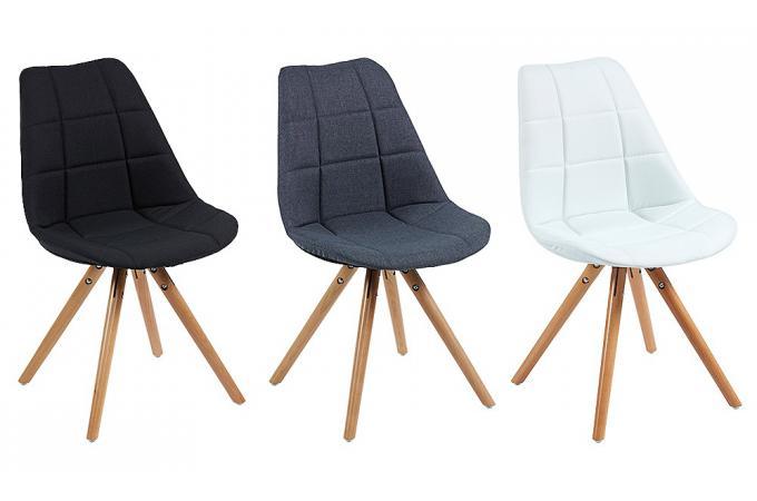 Chaise scandinave en tissu blanc triopse chaise design for Chaise blanche tissu