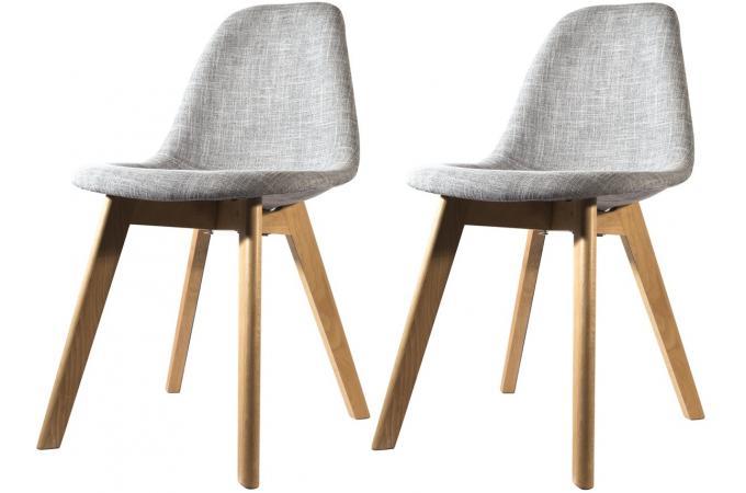 lot de 2 chaises scandinave en tissu grise fjord chaise design pas cher. Black Bedroom Furniture Sets. Home Design Ideas