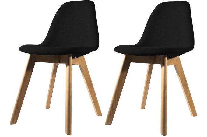 Lot de 2 chaises scandinave en tissu noire fjord chaise for Chaise en tissu pas cher