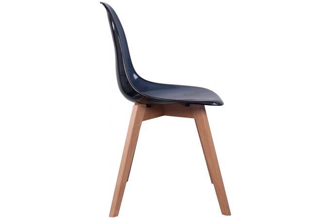 lot de 2 chaises scandinave transparente noire fjord. Black Bedroom Furniture Sets. Home Design Ideas