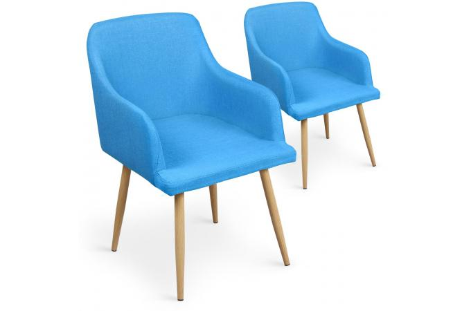 lot de 2 chaises scandinaves avec accoudoirs en tissu bleu rocy chaise design pas cher. Black Bedroom Furniture Sets. Home Design Ideas