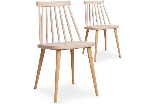 Lot de 2 chaises scandinaves beiges TAPLA