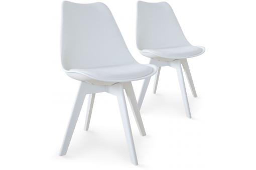 Lot de 2 chaises scandinaves blanches NIRA