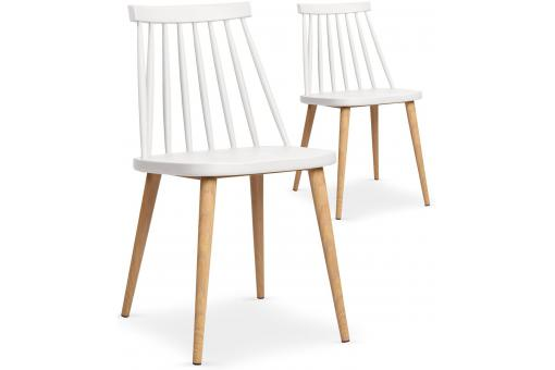 Lot de 2 chaises scandinaves blanches TAPLA