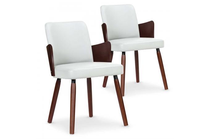 lot de 2 chaises scandinaves bois noisette et blanc phibie chaise design pas cher. Black Bedroom Furniture Sets. Home Design Ideas