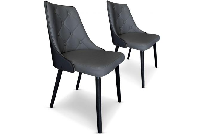 lot de 2 chaises scandinaves cadix bois noir et gris chaise design pas cher. Black Bedroom Furniture Sets. Home Design Ideas