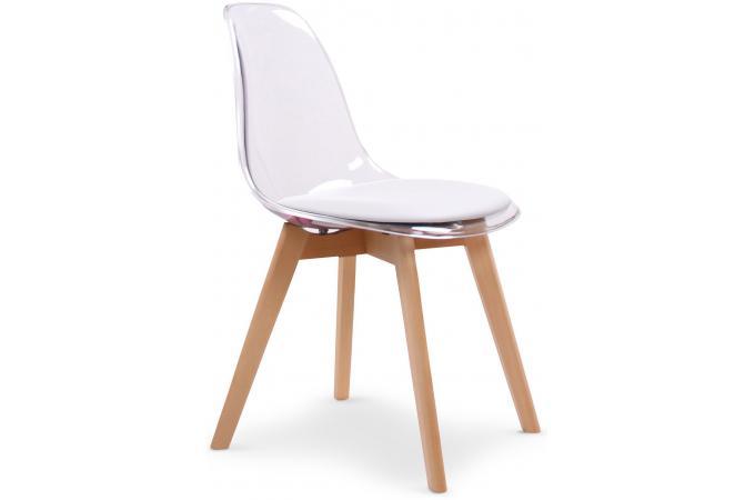 lot de 2 chaises scandinaves transparentes et coussin blanc sully chaise design pas cher. Black Bedroom Furniture Sets. Home Design Ideas