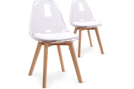 Lot de 2 chaises scandinaves en plexi transparent et coussin blanc SULLY