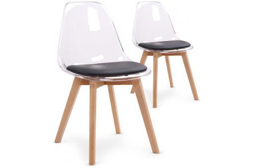 lot de 2 chaises scandinaves transparentes et coussin noir sully chaise design pas cher. Black Bedroom Furniture Sets. Home Design Ideas