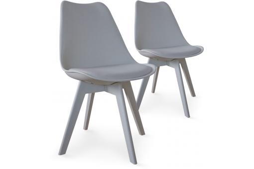 Lot de 2 chaises scandinaves grises NIRA
