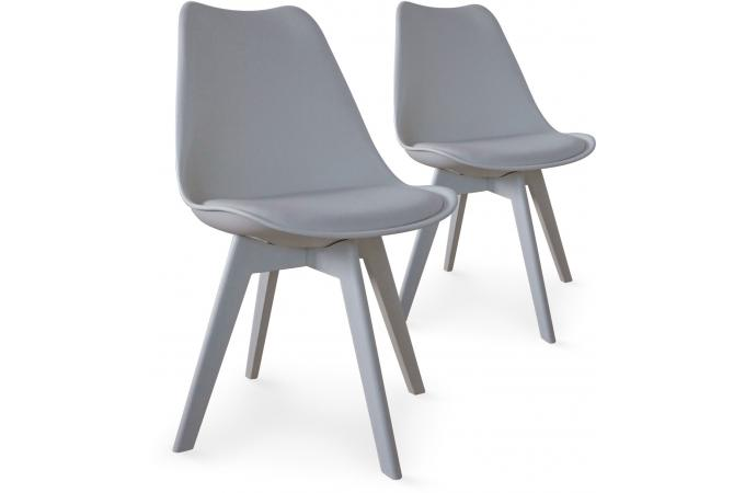 Lot de 2 chaises scandinaves grises nira chaise design - Chaises design grises ...