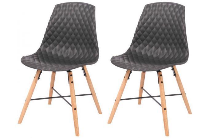 lot de 2 chaises scandinaves noires en ch ne moody chaise design pas cher. Black Bedroom Furniture Sets. Home Design Ideas