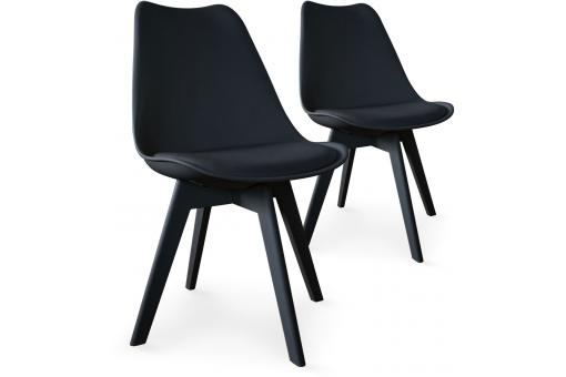 Lot de 2 chaises scandinaves noires NIRA