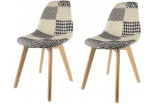 Lot de 2 chaises scandinaves patchwork bicolores FJORD