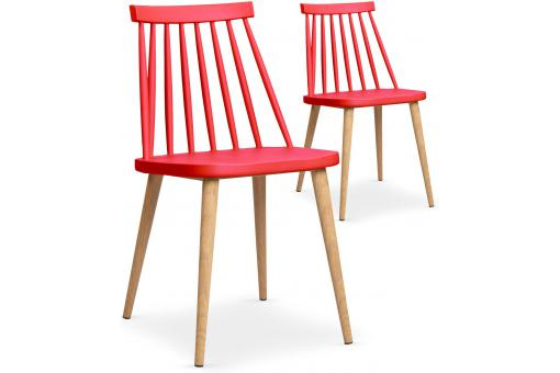 Lot de 2 chaises scandinaves rouges TAPLA