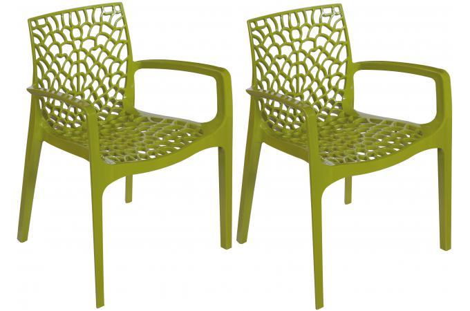 lot de 2 chaises vert anis avec accoudoirs gruyer opaque. Black Bedroom Furniture Sets. Home Design Ideas