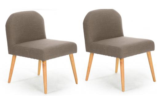 Lot de 2 Fauteuils Contemporains Gris Naturel