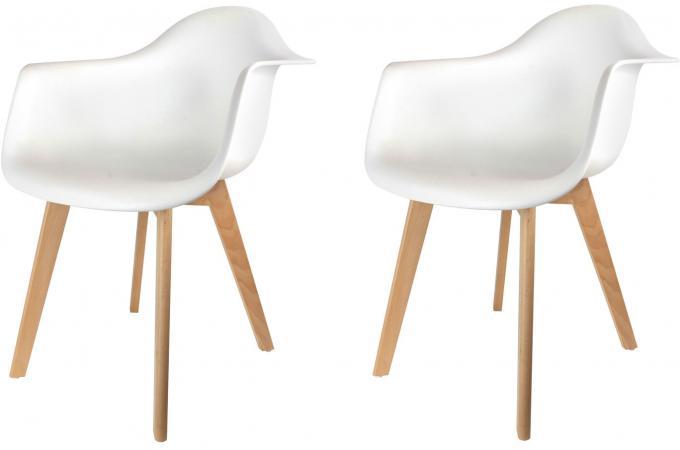 Lot de 2 chaises scandinaves avec accoudoir blanches fjord - Chaises blanches design pas cher ...