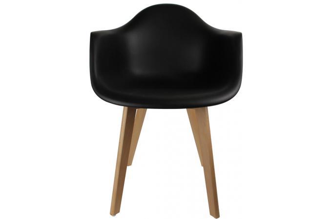 lot de 2 chaises scandinaves avec accoudoir noires vogar. Black Bedroom Furniture Sets. Home Design Ideas