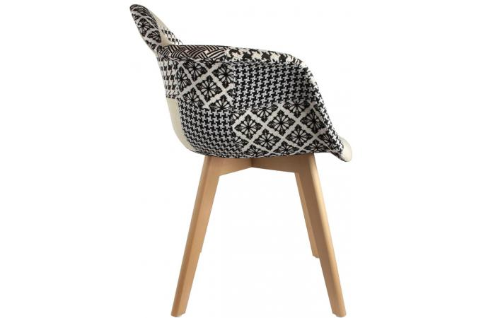 Lot de 2 chaises scandinaves avec accoudoir patchwork