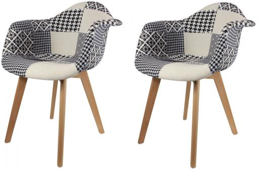 Lot de 2 chaises scandinaves avec accoudoir patchwork bicolores FJORD