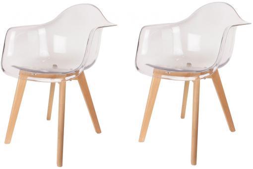 lot de 2 chaises scandinaves avec accoudoir transparentes fjord chaise design pas cher. Black Bedroom Furniture Sets. Home Design Ideas