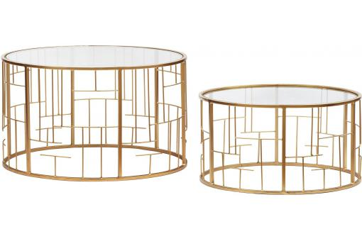 Lot de 2 Tables basses Transparent et pieds Or NIDO - Table basse design