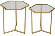 VERSA - Lot de 2 Tables d\'Appoint Hexagonales Métal Or LIV - Table d appoint design