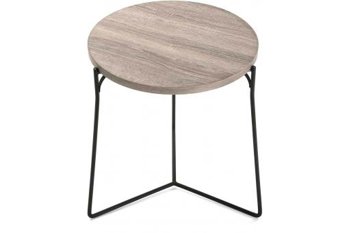 Lot de 2 tables d'appoint rondes bois métal TRABE