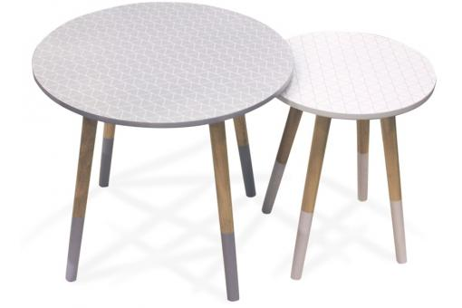Lot De 2 Tables Gigognes Scandinaves Imprimé Blanc-Gris D48 WOLF