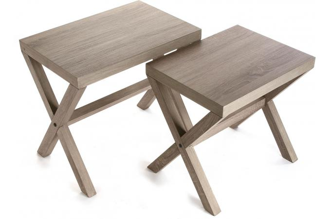 lot de 2 tables gigognes bois aaron table basse pas cher. Black Bedroom Furniture Sets. Home Design Ideas