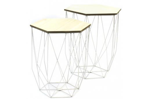 Lot De 2 Tables Gigognes Filaires Blanc BOREAL
