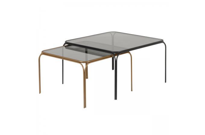 83661d1ed6d19e Lot de 2 Tables Gigognes Laiton Noir DOLLA - Table Basse Pas Cher