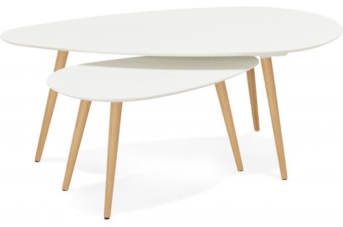 ensemble de deux tables gigognes scandinaves blanches stacy table basse pas cher. Black Bedroom Furniture Sets. Home Design Ideas
