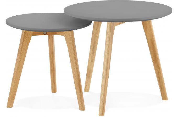 lot de 2 tables gigognes scandinaves grises lovon table basse pas cher. Black Bedroom Furniture Sets. Home Design Ideas