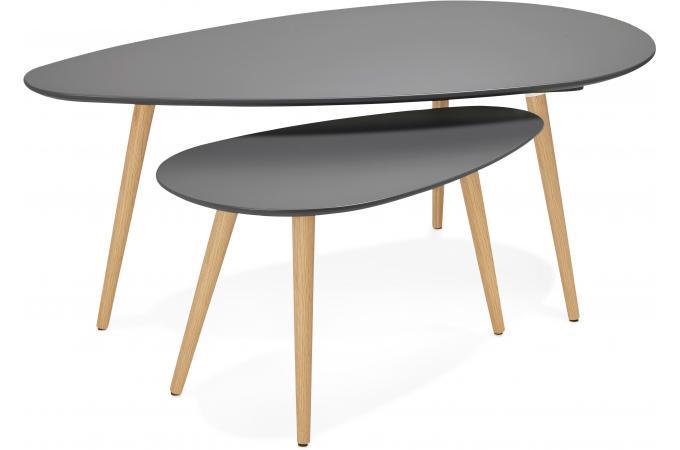 ensemble de deux tables gigognes scandinaves grises stacy table basse pas cher. Black Bedroom Furniture Sets. Home Design Ideas